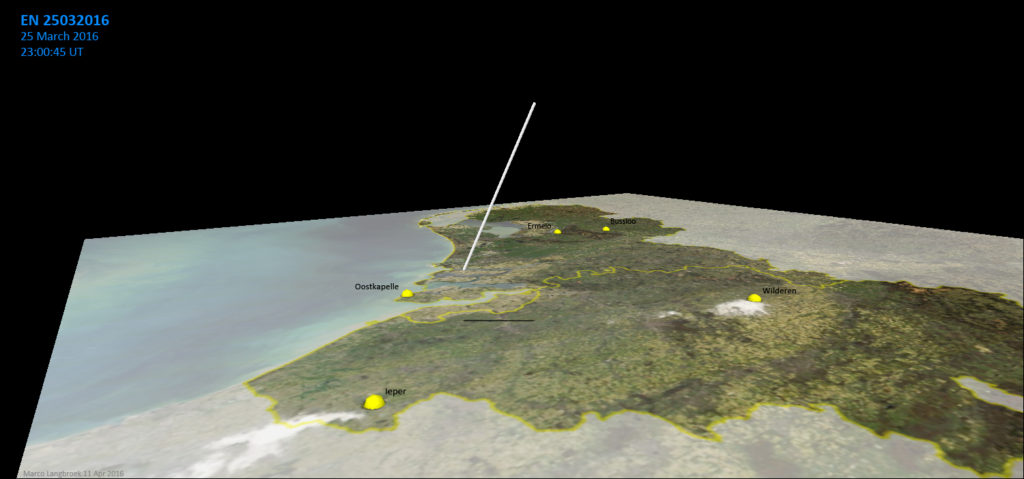 Figure 2 – 3D reconstruction of the fireball trajectory (graphic made with QGIS).