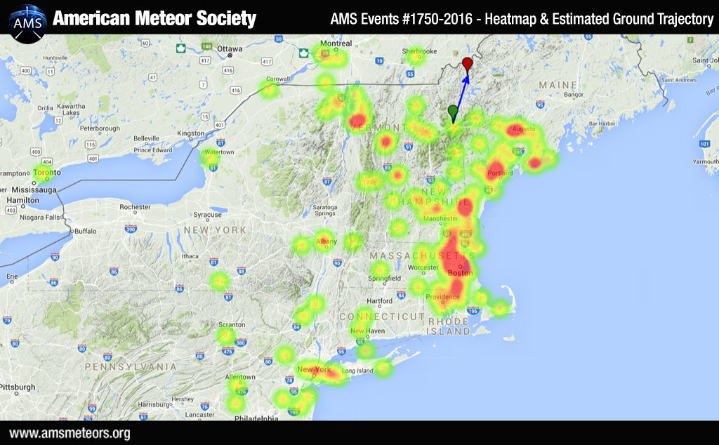 AMS Event #1750-2016 – Heatmap and Estimated Ground Trajectory