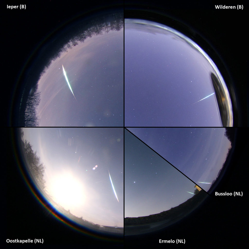 Figure 1 – Compilation of the all sky images from Wilderen, Ieper, Ermelo, Oostkapelle and Bussloo.
