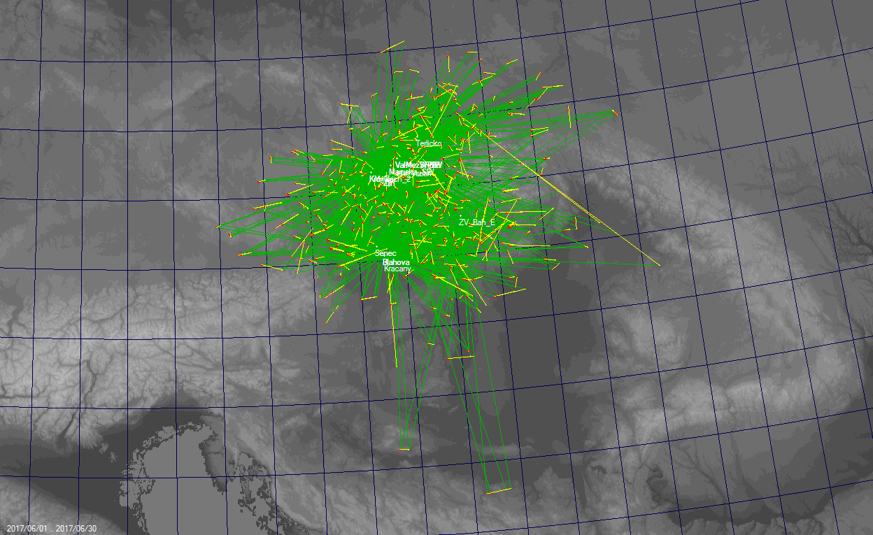 Fig. 7: 2D projection of multi station orbits in the CEMeNt network in June 2017. Author: Jakub Koukal