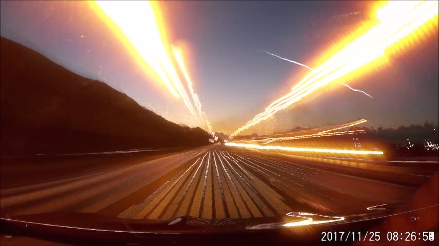 Fig. 4: A video clip of the fireball 20171125_071306 from a dashboard camera in the car, M4 highway near Port Talbot. Author: Mark Lemon