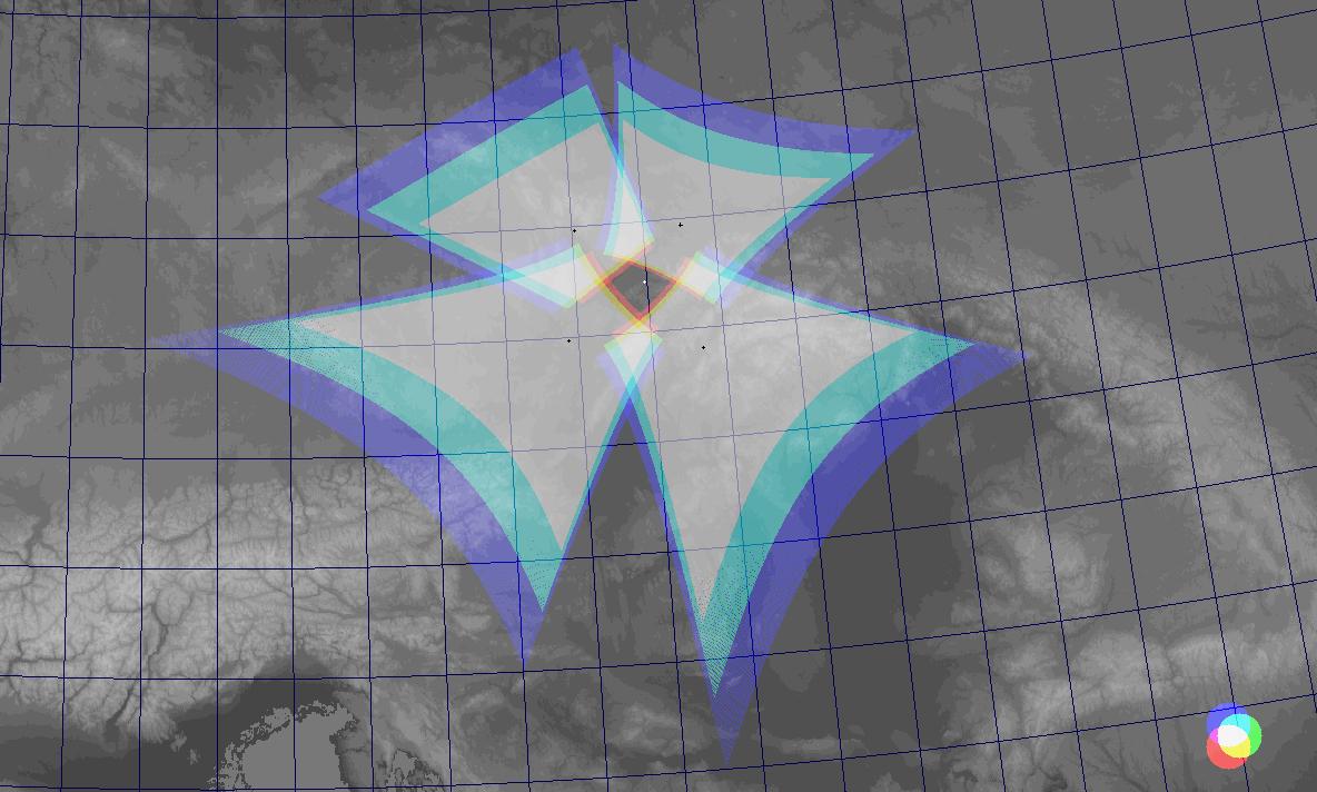 Ground map (central Europe) of spectrographs field of view at the Valašské Meziříčí Observatory, position of the station is marked (white circle).