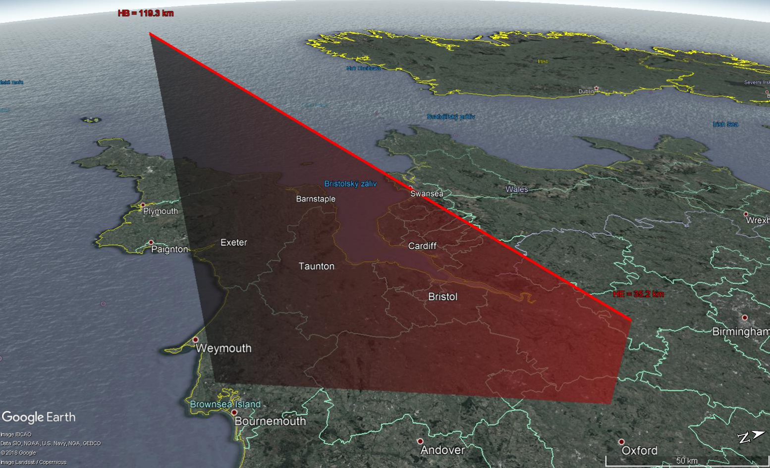 Fig. 3: 3D projection of the atmospheric path of the fireball 20160317_031654 on the Earth´s surface. Source of the map background: Google Earth, Google Inc.