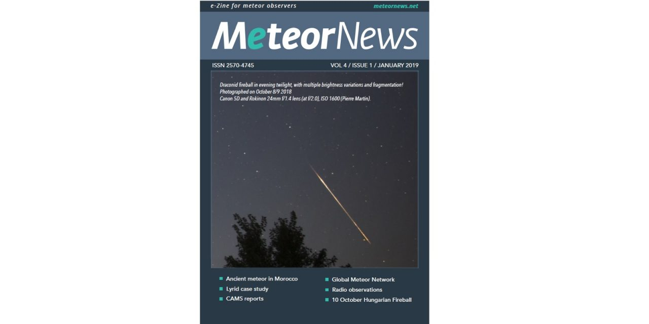 January 2019 issue of eMeteorNews online!