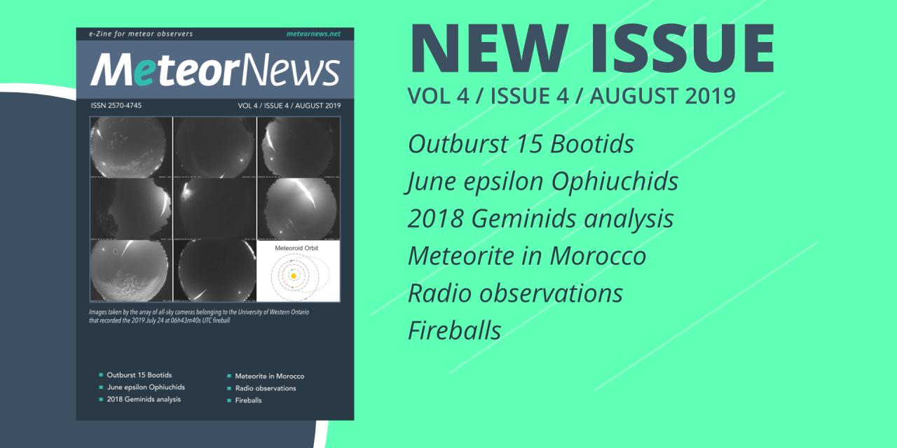 August 2019 issue of eMeteorNews online!