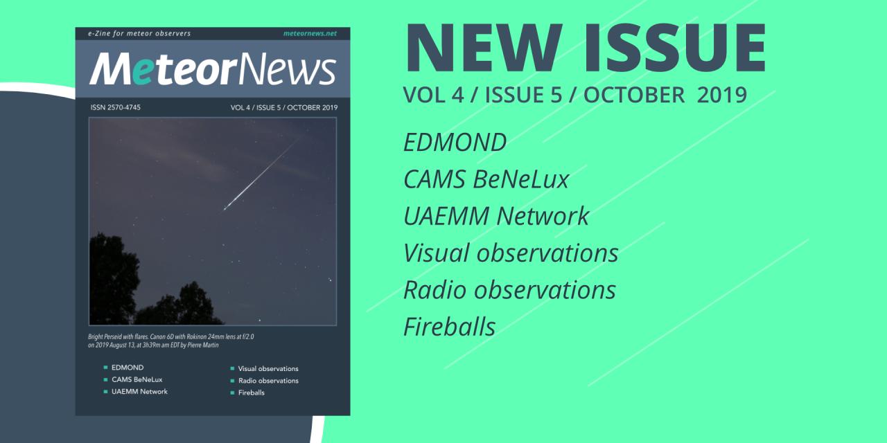October 2019 issue of eMeteorNews online!